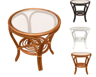 Rattan Round Coffee End Table Model Hanna With Glass Top