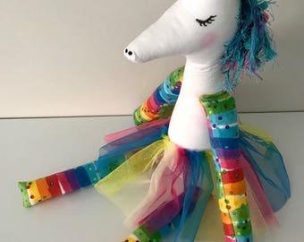 Unicorn toy, Handmade Cloth Unicorns, Soft Toy, Baby Gift, Baby Shower Gift, Unicorn Doll, Stuffed Toy, Imagination Toy, Ready to Ship, OOAK