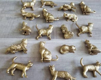Mini Cat Favors, One Dozen Mini Kitty Cats, 12 Cat Themed Party Table Decorations, Cat Place Setters, Gold Cat Wedding
