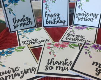 Handmade Card, Stamped Card, Birthday Card, Thanks Card, Miss You Card, Customizable Card, All Occasion Card, Hand Colored Card