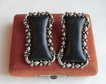 Pair Vintage Shoe Clips Silver Tone Metal Black Leather