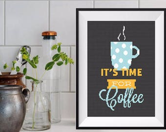 Coffee Cross Stitch Pattern Coffee Lover Funny cross stitch coffee Modern Cross Stitch Quote Cross Stitch But First Coffee Modern Embroidery