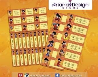 Printable and personalized Dragon Ball name tags - Dragon Ball Z school stickers - Dragon Ball Labels
