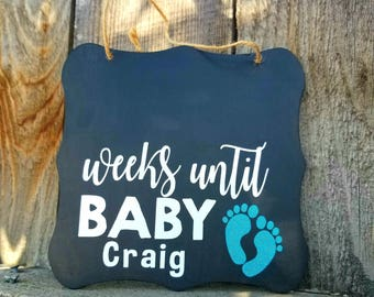 Weeks until baby, pregnancy countdown, maternity photo prop, pregnancy photo prop, pregnancy announcement, custom chalkboard, chic decor