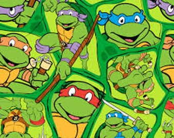 "TMNT Heroes on a Half Shell by Spirings Creative fabric, 43"" wide, 100% cotton, by the half yard"