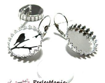 20 pieces: 10 blank SLEEPER claw A SERTIR 20 mm silver plate and 10 cabochons earrings