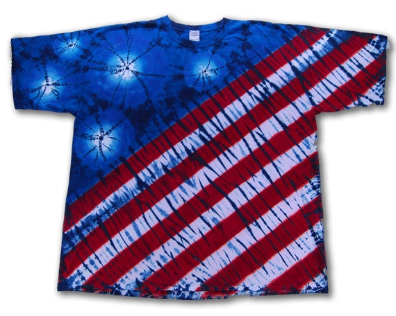 Tie dye 4x 4th of july flag t shirt red white blue for How to dye a shirt red