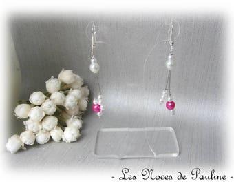 Earrings fuchsia and white asymmetrical Julia