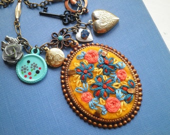 Embroidered Floral Cameo Statement Charm & Locket Necklace - Flower Embroidery Bib Necklace, Mixed Metal Fiber Art Retro Garden Jewelry Gift