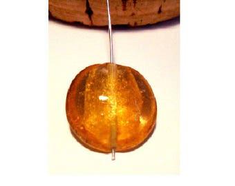 Set of 2 20 mm x 9 mm golden orange lampwork beads