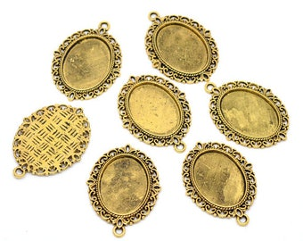 Set of 10 blank Golden oval cabochon