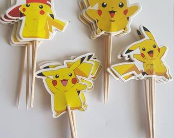 Pokeman Picachu 12 cupcake picks