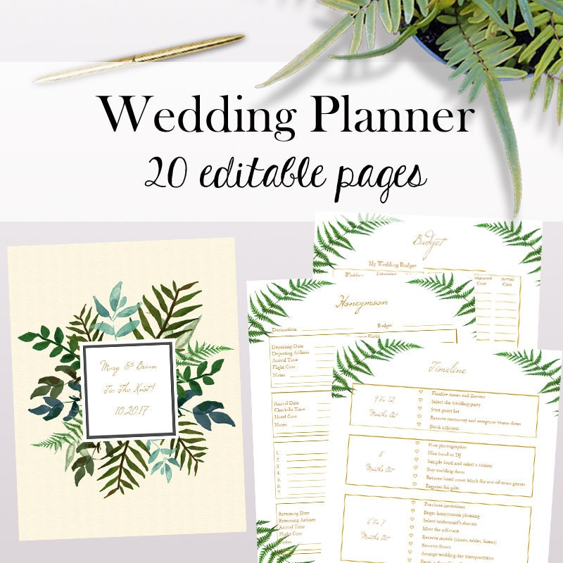 Wedding Planner PDF Editable Wedding Planner Printables