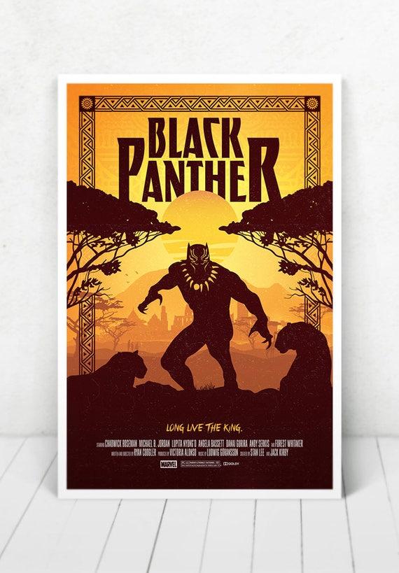 Black Panther Movie Poster Illustration / Black Panther Movie Poster / Movie Poster / Black Panther / Marvel