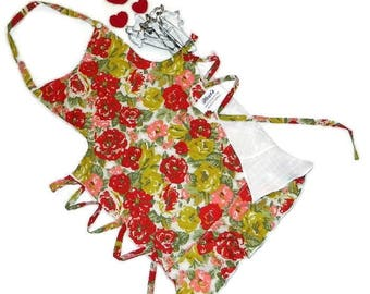 Womens Apron, Cooking Apron, Flower Print Apron, Pink Apron, Red Apron