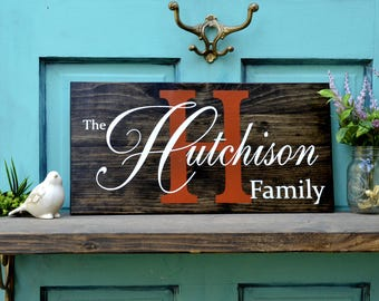 Establishment Established Custom Painted Family Name Sign on Small Stained Wood Pallet