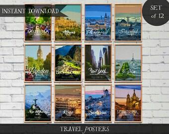 Travel Posters, Set of 12 Instant download Digital prints