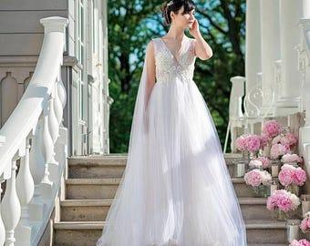 THIS WEEKEND ONLY Persephone - beaded wedding dress / lace wedding dress / backless wedding dress / empire waist wedding dress / ivory weddi