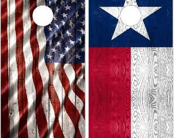 Texas and American Flag Cornhole Wrap Bag Toss Decal Baggo Skin Sticker Wraps