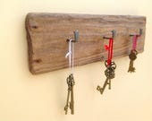 Driftwood plaque key rack. Wall rack. 3 hooks. Drift wood hanging hooks for keys dog leads aprons... Beach decor key display holder