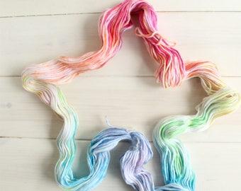Unicorn - fantasy themed hand dyed yarn - cotton yarn - dk weight yarn