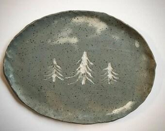 Stoneware Tree Serving Tray - grey blue