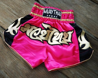 New Custom Muay Thai Boxing Shorts Martial Arts - Pink