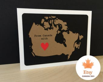 From Canada with Love Card, Handmade Black and Kraft Paper Canada Card, Papercut Canada Map Card, Red Heart Card, Carte Canada coeur rouge