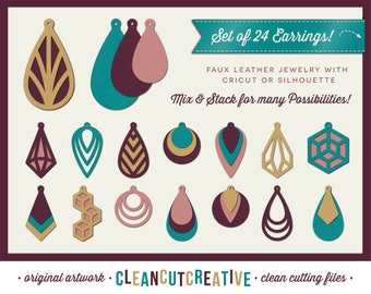 SVG Faux Leather Earrings svg teardrop stacked cutout holes pendant jewelry geometric - Cricut & Silhouette - dxf eps png - commercial use