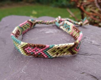 Pink, Green, Brown Arrow Anklet/Armband, Macrame Anklet, Macrame Armband, Woven Anklet, Woven Armband, Tribal Anklet, Tribal Armband, Arrow