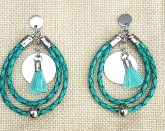 Creole turquoise green braided leather US