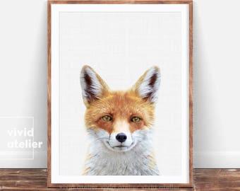 Fox Print, Nursery Woodland Wall Art, Baby Forest Print, Forest Animals, Printable Woodlands, Woodland Animals, Nursery Forest Art, Fox Face