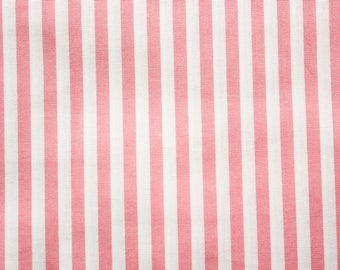 Medium Striped Fabric, Pink, White, Stripe Fabric, Cotton Fabric, White Soft Pink, Quilting Sewing Craft Supplies, Extra Wide, Half Metre