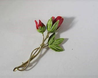 Vintage Rose Brooch, Enamel Painted Brass, Red Roses, Statement Pin, 1970's