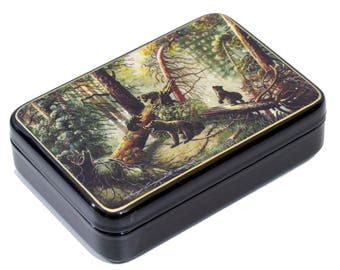 "Russian Fedoskino Lacquer Box - MEDIUM SIZE - ""Morning in a pine forest"" - Hand Painted in Russia - Collectible Art Quality"