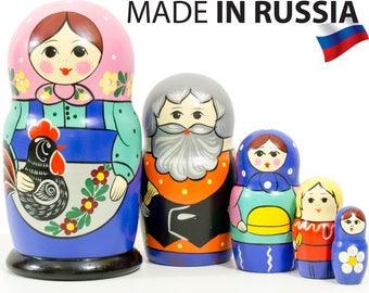 "Russian Nesting Doll - ""Russian Classical. Family."" - MEDIUM SIZE - 5 dolls in 1 - Hand Painted in Russia - Matryoshka Babushka"