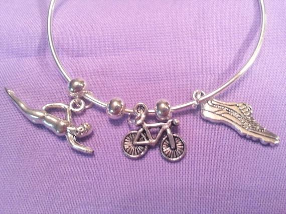 Triathlon Jewelry, Triathlete Charm Bracelet, Wire Bracelet Jewelry, Swim Bike Run, Fitness Charms, Motivational Gift, Inspirational Jewelry
