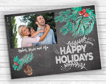 Photo Christmas Cards, Printed Christmas Cards, Blackboard Finish Card, Holly Christmas Cards, Holiday Photo Card, Chalkboard Christmas Card