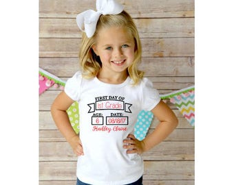 First Day of School Personalized T-Shirt - Back to School T-Shirt - Pre-School - 1st Grade - 2nd Grade - 3rd Grade - 4th Grade - 5th Grade