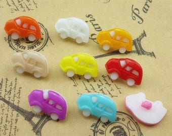 10 buttons acrylic shaped car 18x12mm