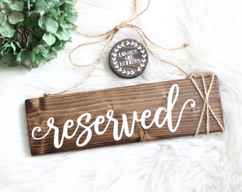Reserved Sign Wedding - Rustic Wedding Decor - Hanging Reserved Signs - Chair Reserved Signs - Family Reserved Signs - Wood Reserved