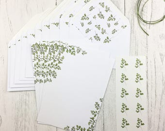 Writing Set / Writing Paper / Floral Stationery / Mothers Day Gift / Thank You Notes / Fern Writing Set / St Patricks Day Gift