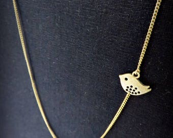 Necklace long brass bird