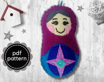 Russian Doll Pattern-Babushka Felt Pattern-Felt Christmas Ornament Pattern-Matryoshka Felt PDF Pattern-Felt Patterns-Felt Ornament Pattern