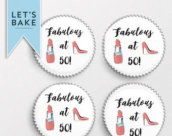 Happy birthday,cupcake toppers, edible, birthday cupcake toppers,50th birthday cupcake, 40th birthday cupcake, women's birthday cupcake