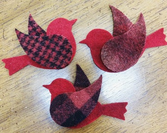 Hand-dyed Wool Red Birds -- BUNDLE of 3 birds