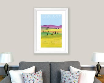POSTER Tuscany, Italy. Print of original collage. Tuscany landscape, Umbria landscape, rustic poster, rustic artwork, home decor, wall art