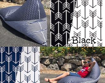 Double Sided Bean Bag Chair - Arrow Print - Choose your Color!