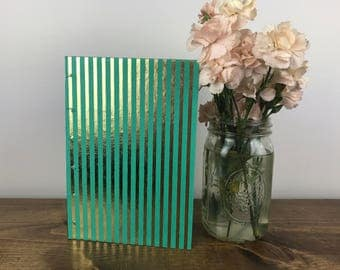 Gold Foil and Teal Stripe Journal/Hand-made journal/Coptic stitch