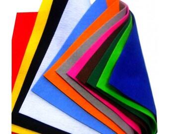 12 Feuilles de feutrine 24x30 coloris assorties
